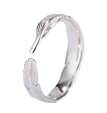 Purposefull Women's Ring - Feather Design - 925 Sterling Silver - Fashion Accessory - Adjustable Jewellery SP5TAU