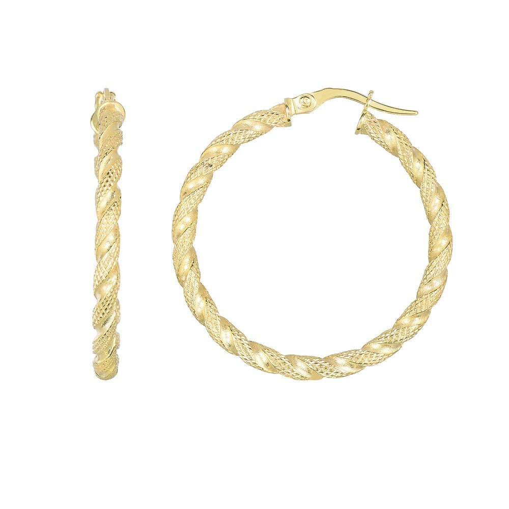 14k Yellow Gold 30x2.5mm Matt Textured Rope Chain Style Round Tube Round Hoop Earrings Hinge Clasp