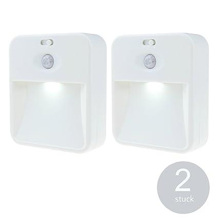 LED Luz nocturna noche luz con detector de movimiento para escaleras Orientación Armario Lámpara batería Alimentado