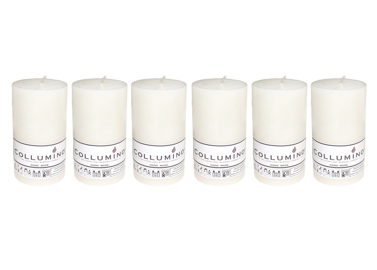Collumino/® Solid Colour Pillar Candles 40 hour Size 10 x 5.5cm Pack of 12, White