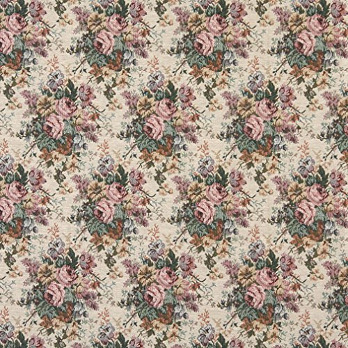 H120 Pink Green and Burgundy Floral Bouquet Tapestry Upholstery Fabric by The Yard from Discounted Designer Fabrics