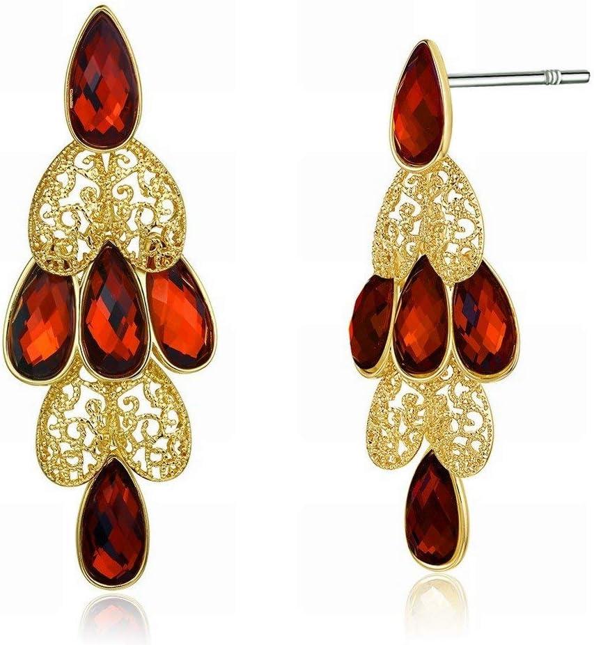 Pendientes de moda para mujer, antialérgicos, piedras preciosas, cristal transparente/circonita/pendientes de gancho, color: color foto