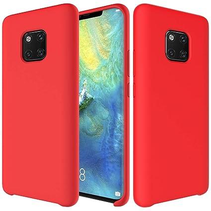 CoverTpu Funda Huawei Mate 20 Pro Silicona, Rojo Funda Líquido de Silicona Gel TPU Flexible, Carcasa para Huawei Mate 20 Pro Anti-Rasguño y Resistente ...