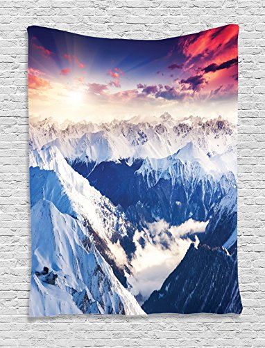 Ambesonne Room Decorations Collection, Mountain Peak Snowy Winter Colorful Overcast Sky Sunbeams Adventure Austria Europe Image, Bedroom Living Room Dorm Wall Hanging Tapestry, White Navy
