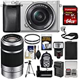 Sony Alpha A6300 4K Wi-Fi Digital Camera & 16-50mm (Silver) 55-210mm Lens + 64GB Card + Case + Flash + Battery + Charger + Grip + Tripod + Kit