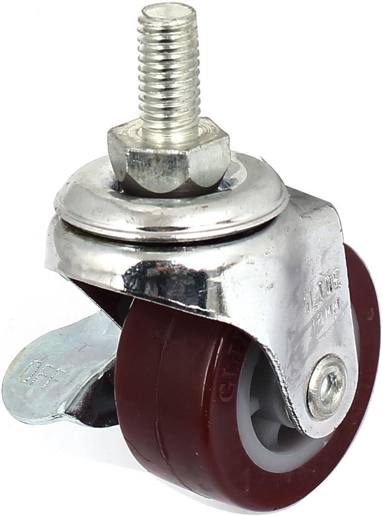 Sourcingmap A15120400UX0207/38/mm 360/gradi singolo lato ruota freno filettato girevole Caster/ /bordeaux//argentato