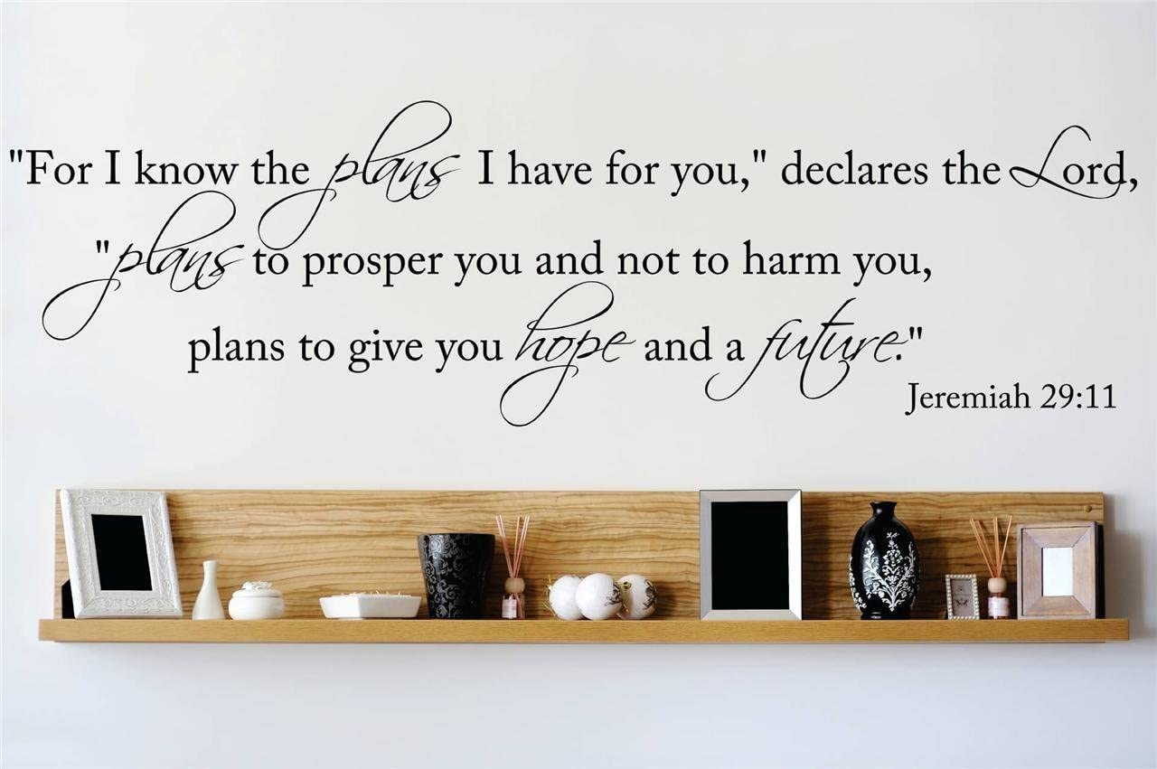 Design with Vinyl OMG 772-10 Decor Item for I Know The Plans I Have for You Declares The Lord Plans to Prosper You Not to Harm Jeremiah 29 11, 6-Inch x 30-Inch, Black