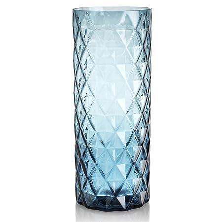 Large Diamond Cut Glass Vase Blue Amazon Kitchen Home