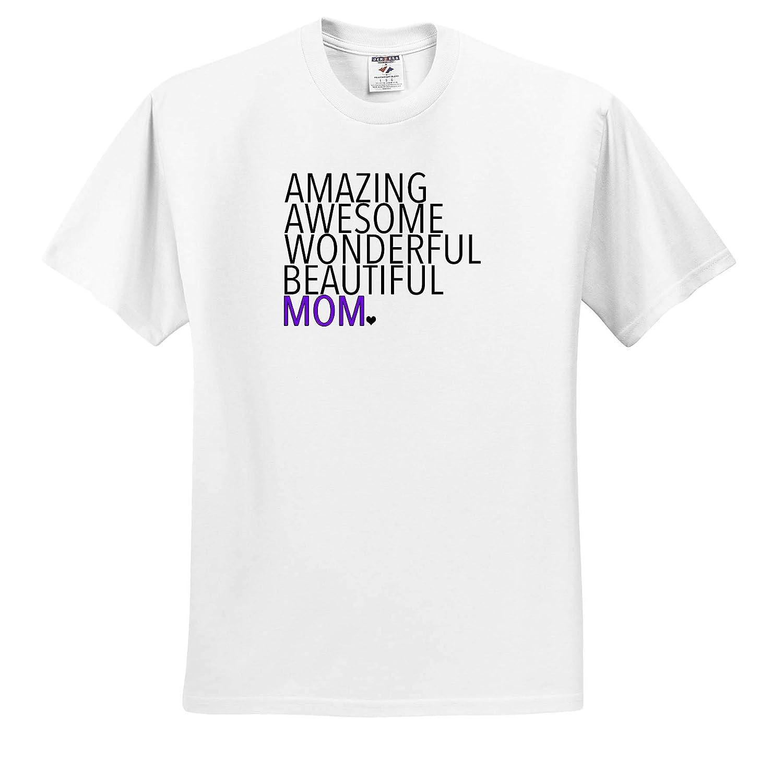Amazing Awesome Wonderful Beautiful Mom Purple Family Sayings 3dRose EvaDane Adult T-Shirt XL ts/_310847