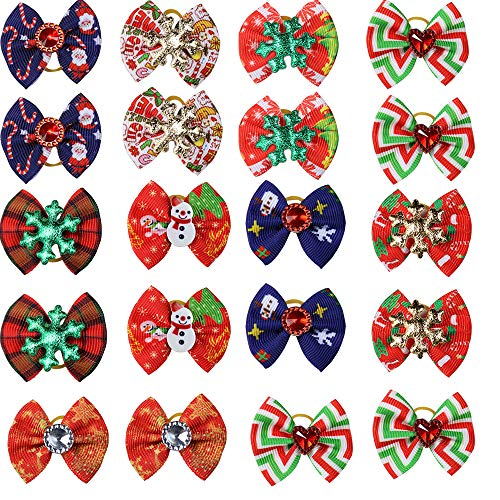 Masue Pets 20pcs/Pack Dog Hair Bows for Christmas with Rubber Bands Thanksgiving Bows Bowknot Snowman Snowflakes Christmas Dog Bows Dog Topknot Bows Pet Grooming Products