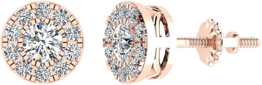 Halo Cluster Diamond Earrings 0.77 ctw 14K Gold (G, SI)