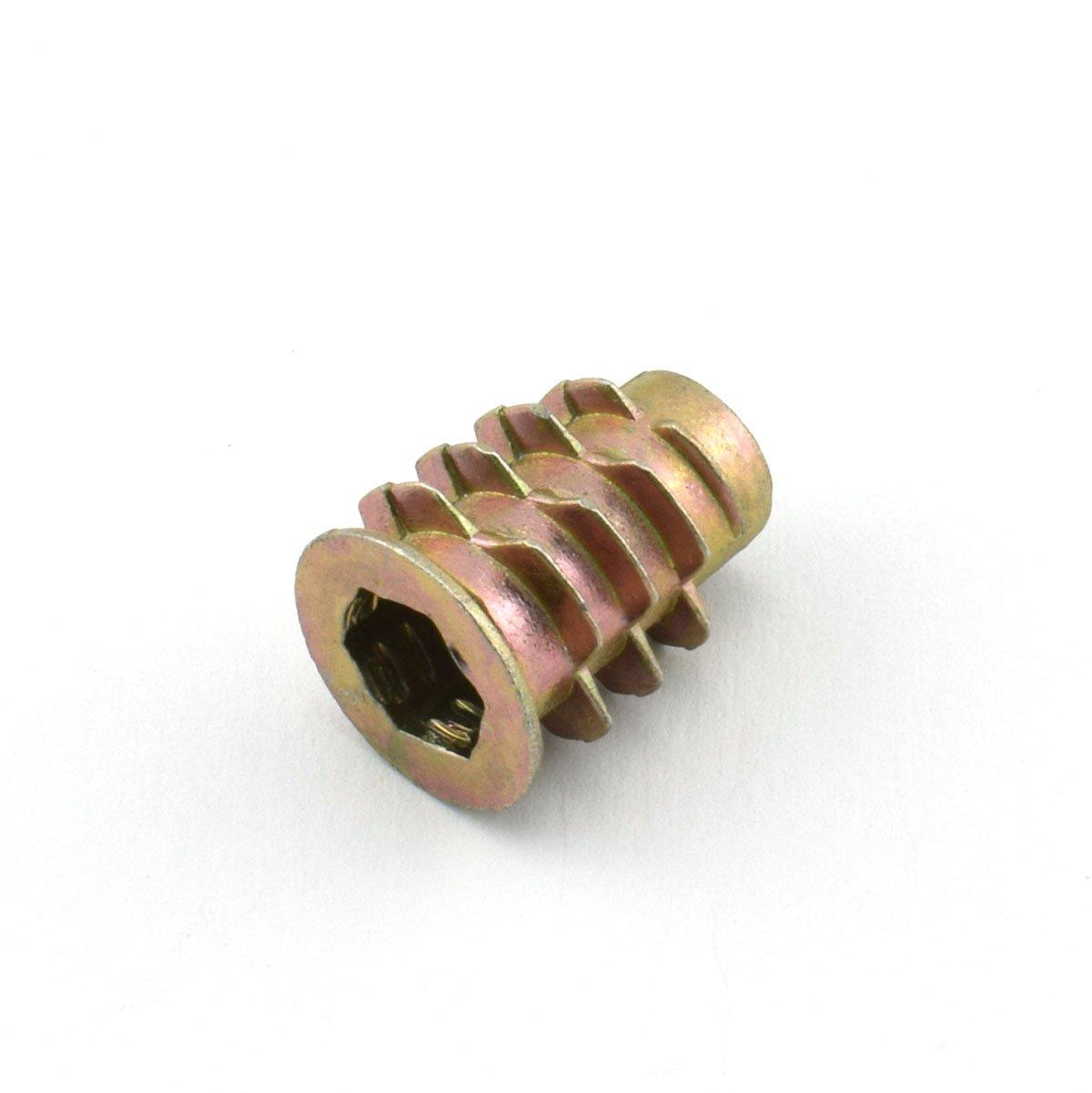 LQ Industrial 12pcs 15mm Furniture Screw-in Nut Zinc Alloy Bolt Fastener Connector Hex Socket Drive Threaded Insert Nuts For Wood Furniture Assortment 1//4-20