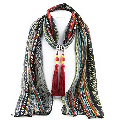 Ysiop Women Chiffon Geometric Scarf Necklace Vintage Bohemia Tassel Neckwear Black