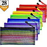 28 Pcs Rainbow Stripes Zipper Mesh Pencil Pouch Multipurpose Travel Bag for Cosmetics Makeup Offices Supplies School Locker Organizer Accessories, 7 Color, 4Pcs Per Color, by Gallop Chic