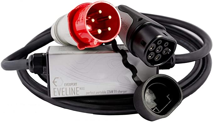 22kw Smart Tragbares Evse Ladegerät Typ2 Cee 5 Pin Rcd Fi A Ev 32a 3 Phasig 5m Inklusive Kompakter Tasche Auto