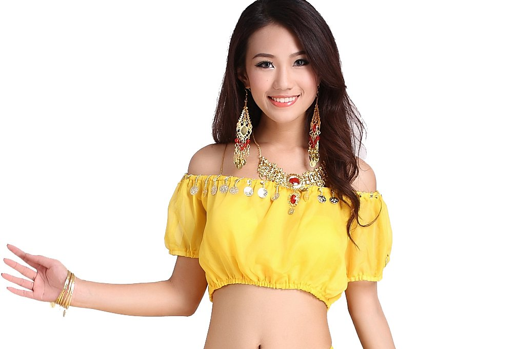 ZLTdream Belly Dance Lanterns Short Sleeve Bra Top Chest Pad Yellow