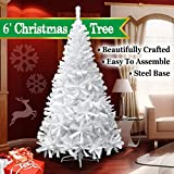 BenefitUSA 5 6 7 7.5 Classic Pine Christmas Tree Artificial Realistic Natural Branches-Unlit With Metal Stand (6 White)