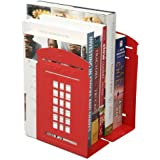 FOME One Pair Vintage Fashion British Style London Telephone Booth Kiosk Thickening Iron Library School Office Home Study Metal Bookends Book End+FOME GIFT