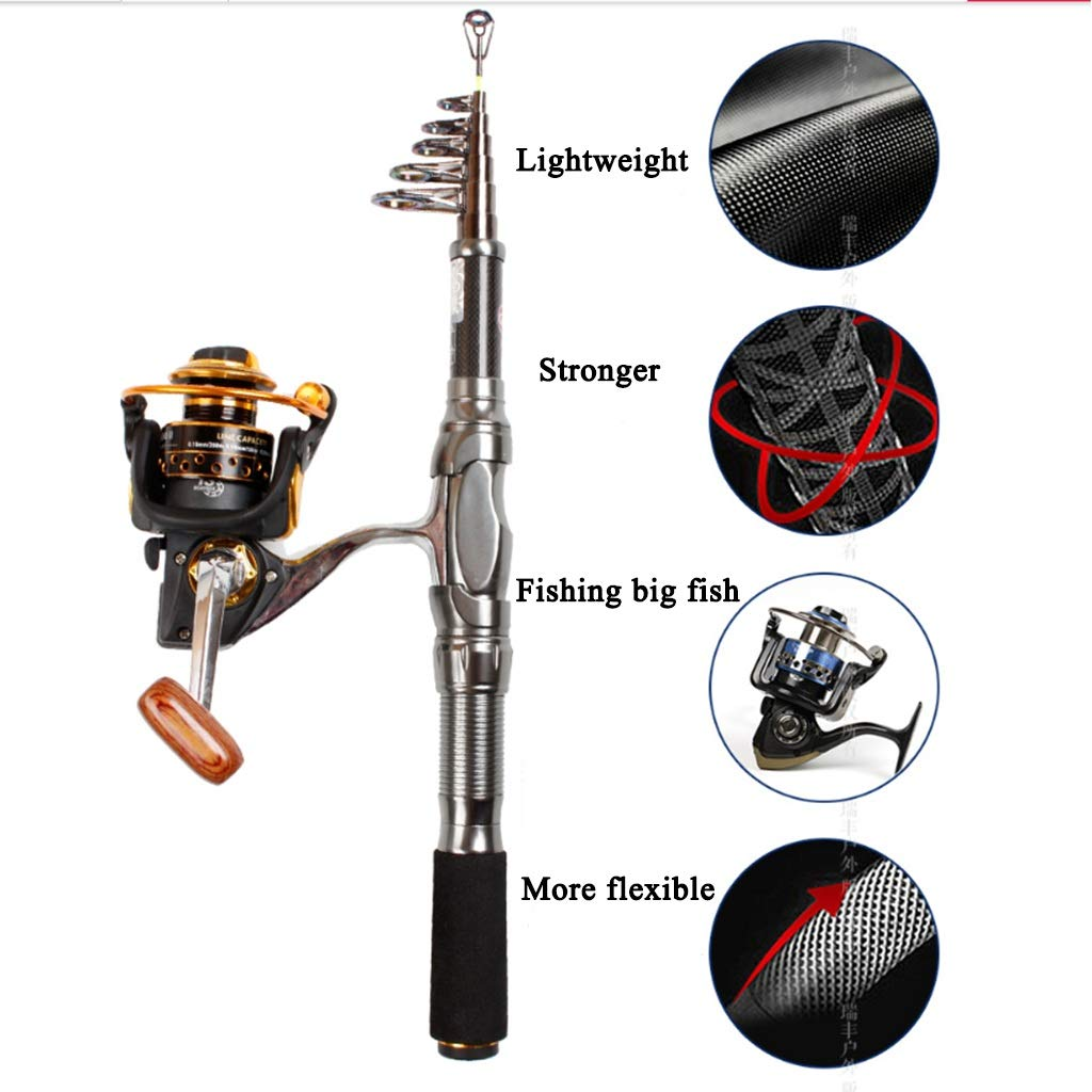 Angelrute - Ultra Light Super Hard Carbon Carbon Carbon Mini Einziehbares Full Metal Shaft Rad Werfen Cast Seaside Reservoir Fishing Gear (größe   2.4m) B07QB21D48 Eisangeln Für Ihre Wahl f11ad2