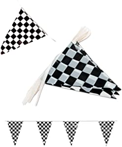 Tytroy Racing Pennant Flag Banners Black White Checkered Nascar Race Car Party Decor 100ft