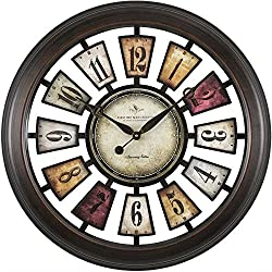 Colorful Numeral Plaques Clock - 22.5 Black Metallic Frame/Multicolor PlaquesDimensions: 3D x 22.5 Diameter Weight: 7 lbs.