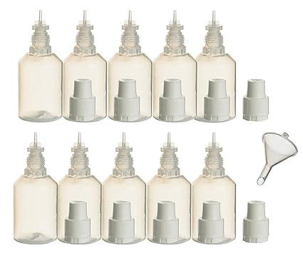 10 pieza de botellas de PP 30 ml incl. 1 x relleno de embudo –