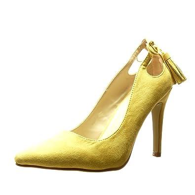 Angkorly Damen Schuhe Pumpe - Stiletto - Sexy - Bommel - Fransen Stiletto High Heel 10 cm - Gelb C61-03 T 38 bpHUmeb