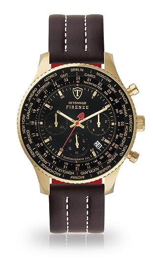 DETOMASO Firenze XXL Reloj Caballero Cronógrafo Analógico Cuarzo marrón Correa de Cuero Puntada Blanca Esfera Negra