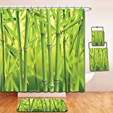 Nalahome Bath Suit: Showercurtain Bathrug Bathtowel Handtowel Bamboo Decor Close up of Bamboo Sprouts Stems Nature in Tropical Rain Forest Wildlife Asian Zen Decor Green