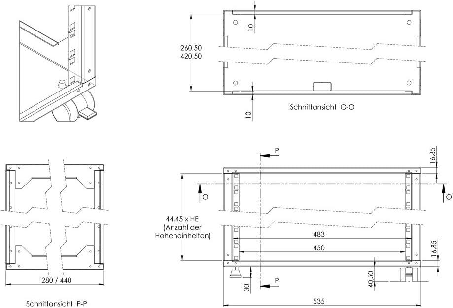 Serverschrank - Wandverteiler Wand Rack 19 Zoll 19 280mm Tiefe- Lichtgrau- 482.6mm Wandschrank 9HE Mini 482.6mm