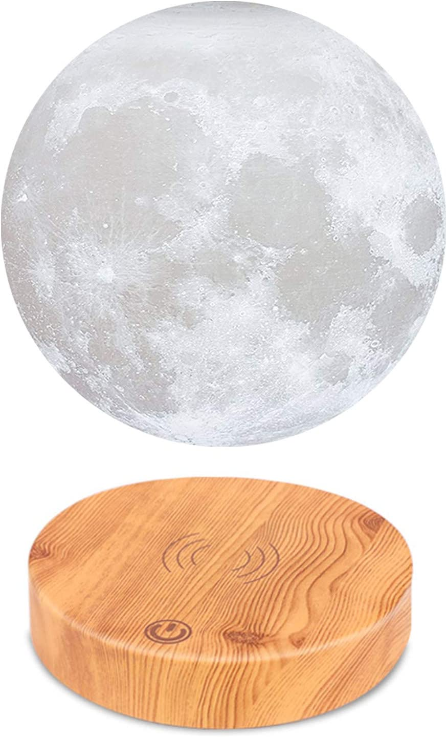 VGAzer Levitating Moon Lamp,Floating and Spinning in Air Freely with Wood Base and 3D Printing LED Moon Light,for Unique Holiday Gifts,Room Decor,Night Light,Office Desk Tech Toys White