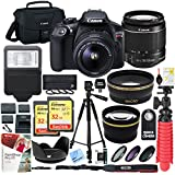 Canon T6 EOS Rebel DSLR Camera with EF-S 18-55mm f/3.5-5.6 IS II Lens and Two (2) 32GB SDHC Memory Cards Plus Triple Battery Tripod Cleaning Kit Accessory Bundle