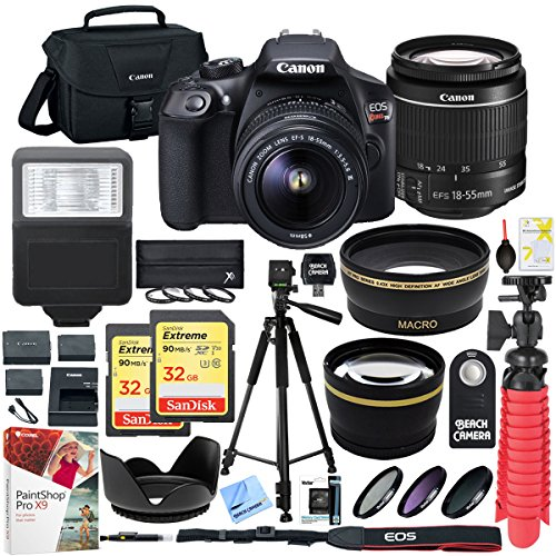 Canon T6 EOS Rebel DSLR Camera with EF-S 18-55mm f/3.5-5.6 IS II Lens and Two (2) 32GB SDHC Memory Cards Plus Triple Battery Tripod Cleaning Kit Accessory Bundle by Canon