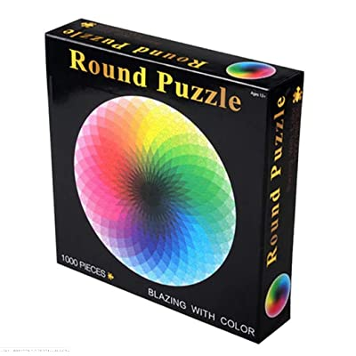 BUZZYFUZZY 1000 Piece Puzzles for Adults Teen - Gradient Circular Thousand Color Rainbow Large Round Jigsaw Puzzle Difficult and Challenge Intellectual Game: Toys & Games