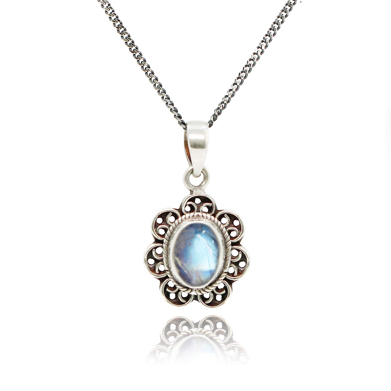 Amazon.com: Luna Azure Colored Gem Moonstone Vintage Style 925 Sterling  Silver Pendant Necklace 18
