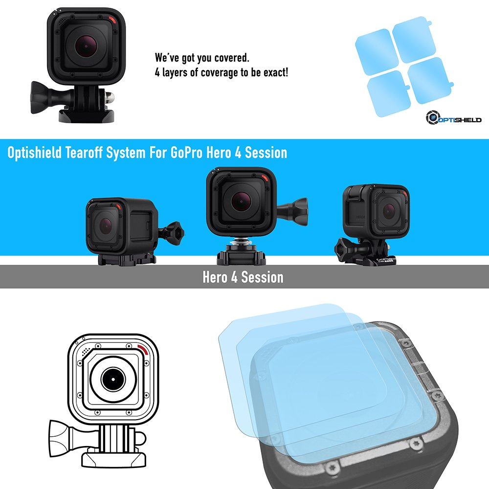 Optishield Action Camera Tear-off Lens Covers For GoPro Hero 4 Session Hero 5 Session by Racelite Protection