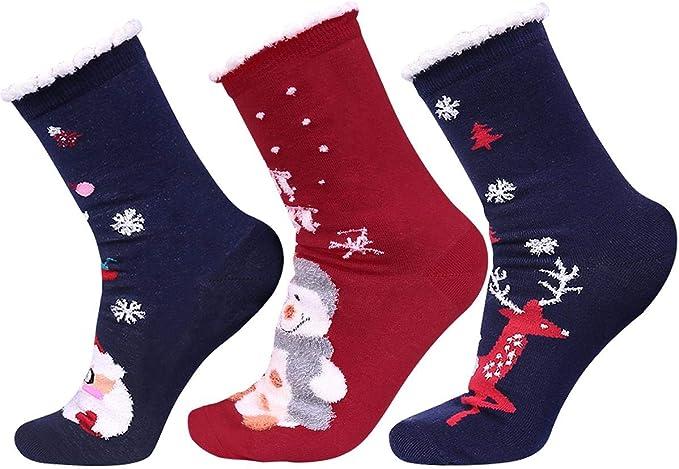 5 Paar Damen Kuschelsocken Weihnachten Muster Socken Baumwolle Weihnachtssocken