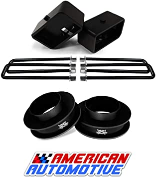 American Automotive 1994-2001 Ram 1500 Lift Kit 2WD 3 Red Front Spring Spacers 2 Rear Blocks Road Fury Leveling Lift Kit
