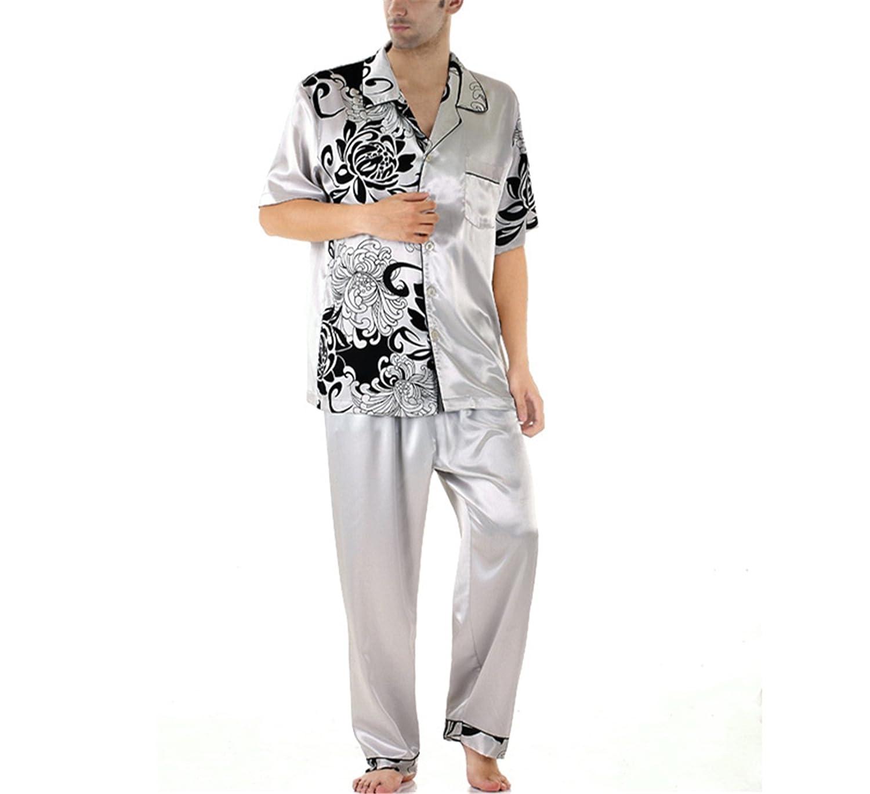 Wigeo Mens Satin Sleepwear Casual Style Summer Silk Couples Plus Size Satin Pajama Set Mens Pyjamas Plus Size XXXL