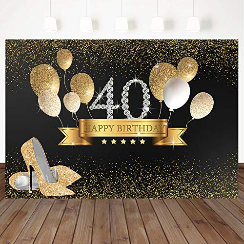- Mocsicka 40th Happy Birthday Backdrop Golden Balloon Background Golden High Heels Women Birthday Party Banner Decoration Custom Backdrops 7X5Ft Vinyl Photo Studio Photography Background Props