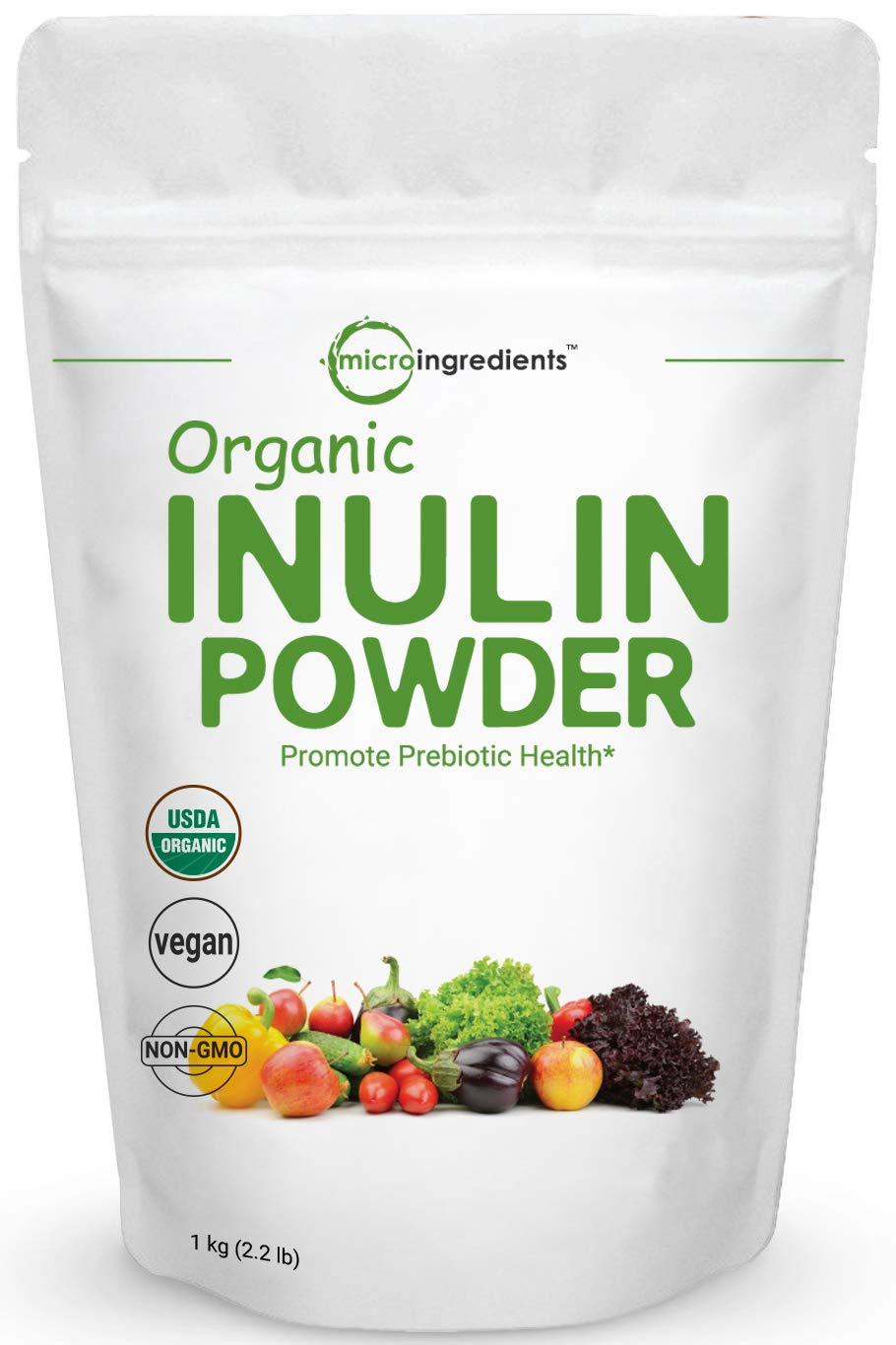 Organic Inulin FOS Powder (Jerusalem Artichoke), 1KG (35 Ounce), Prebiotic Intestinal Support, Colon and Gut Health, Natural Water Soluble Fibers for Smoothie and Drinks, No GMOs and Vegan Friendly by Micro Ingredients