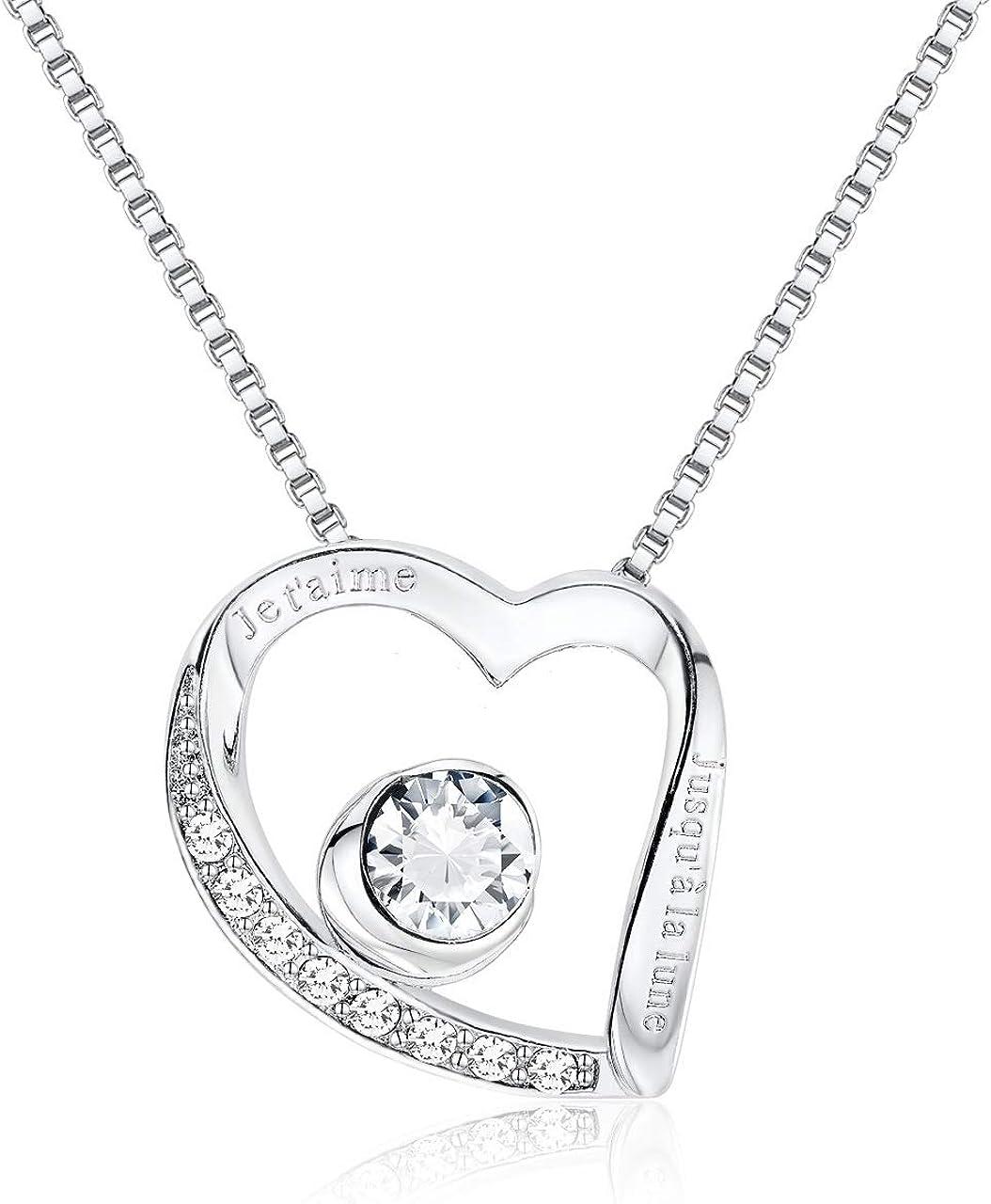 plaqu/é Or Blanc 18 carats Kzafrance Collier Je taime jusqu/à la Lune Collier Coeur grav/é et orn/é dun Cristal de Swarovski