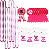 PeeNoke Bachelorette Party Accessory Set Including 8 Beads Necklace, 8 Team Brides Transparent Plastic Cups, 8 Team Brides Badges and 1 Bride to Be Badge