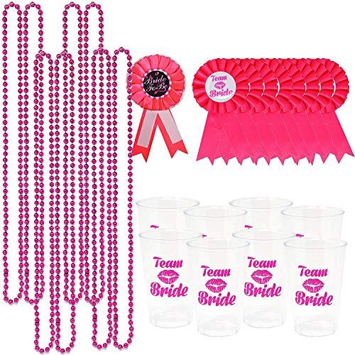 Plastic Set Necklace - PeeNoke Bachelorette Party Accessory Set Including 8 Beads Necklace, 8 Team Brides Transparent Plastic Cups, 8 Team Brides Badges and 1 Bride to Be Badge
