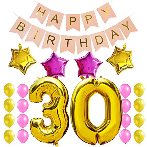 (KUNGYO 30Th Birthday Party Decorations Kit-Pink Happy Brithday Banner,Number 30 Golden Mylar Foil Balloon, 4 PCS Star,16PCS Gold Pink Latex Balloon, Perfect 30 Years Old Birthday Party)