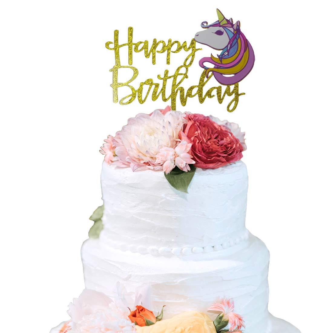 Unicorn Happy Birthday Cake Topper Handmade For Party Decoration SuppliesUnicorn Themed DecorationBaby Shower Amazon