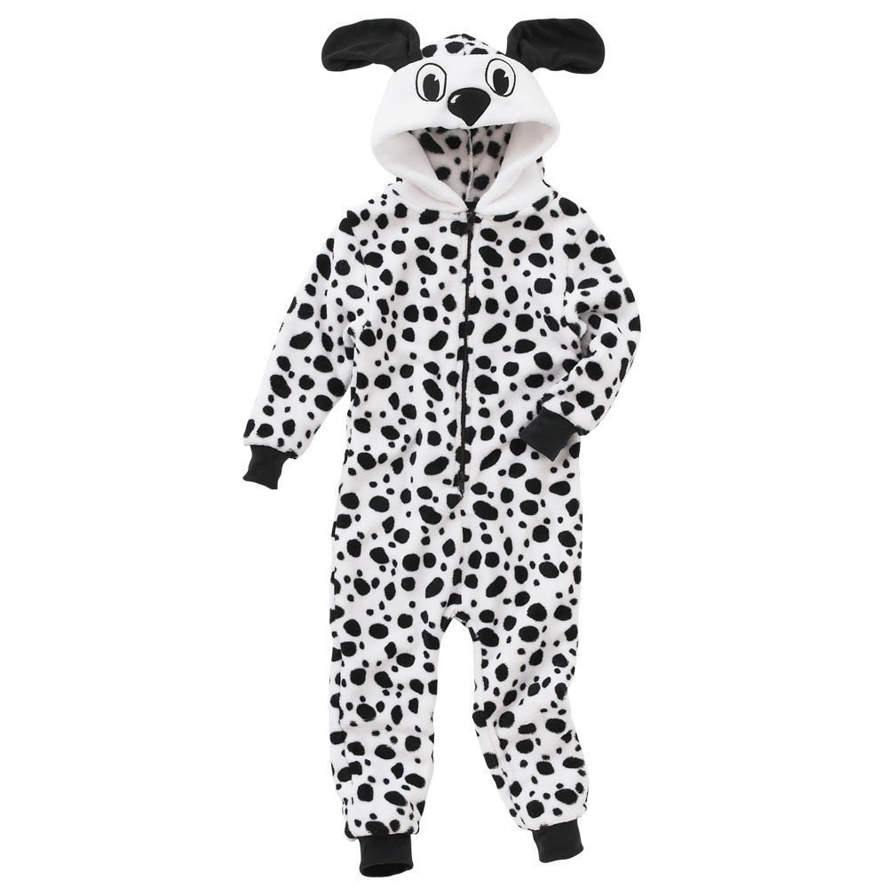 Animal Crazy Girls Supersoft Fleece Dalmatian Onesie Jumpsuit Playsuit