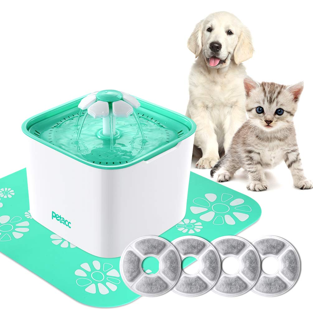 Pet Fountain Cat Dog Water Dispenser with Pump and 4 Replacement Filters Healthy and Hygienic 2L Super Quiet Automatic Electric Water Bowl Drinking Fountain for Dogs Cats