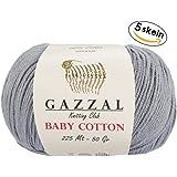 5 Skein (Pack) Total 8.8 Oz. Gazzal Baby Cotton Each 1.76 Oz (50g) / 246 Yrds (225m) Soft, Super Fine Baby Yarn, 60% Cotton (Grey - 3430)