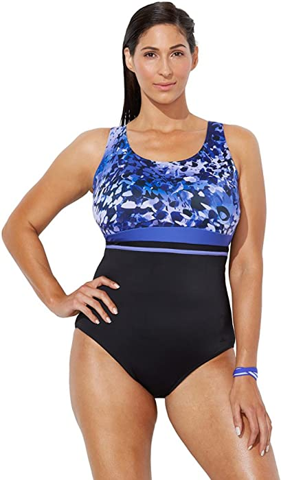 e11b71243d7b7 Swimsuits For All Women s Plus Size Printed One Piece Sport Swimsuit 8  Purple
